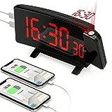 Despertador Proyector Techo, [con Adaptador & 5 Niveles de Brillo], PEYOU 7 Pulgadas Reloj Despertador Digital con 2 Puerto de Carga USB, Proyección de 180° Rotativo, Función Snooze 9 Min, Alarma Dual