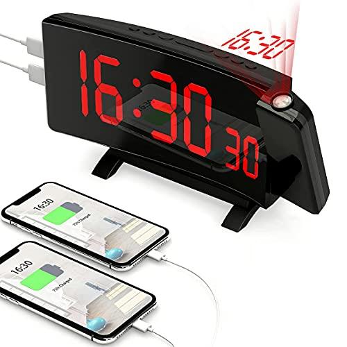 PEYOU Projektionswecker,[2021 Upgrade]Digital Wecker mit Projektion,Große 7'' LED-Anzeige,Snooze,Dual-Alarm,2 USB-Anschluss,5 einstellbare Helligkeiten,12/24 Stunden Reisewecker mit Projektion/Adapter
