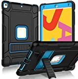 BMOUO for iPad 7th Generation Case, iPad 10.2 Case, Heavy Duty Shockproof Rugged Protective Case with Kickstand for iPad Case 7th Generation 10.2 inch 2019 Release - Blue and Black