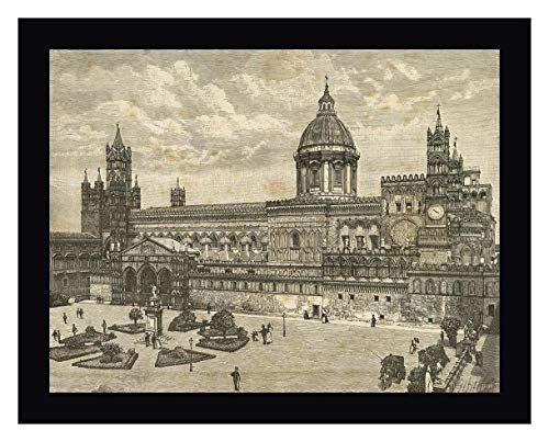 """Palermo View Cathedral Italy Sicily by Archivio 13"""" x 16"""" Black Framed Canvas Giclee Art Print - Ready to Hang"""