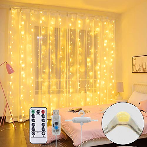 Cortina de Luces LED, Súper brillante Luces de Hadas Impermeable Blanco Cálido USB, 3M×3M 300LED, 8 Modos de Luz Cadena, Decoración para Navidad, Bodas, Dormitorio