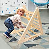 CCLIFE Kletterdreiecke nach Pikler Art Holz Indoor für Babys Kinder Kleinkinder Aktivspielzeug natürliche ungiftige Farbe, Farbe:Holz