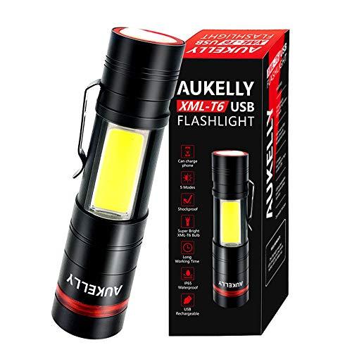 AUKELLY LED Linterna USB Recargable Alta Potencia LED Linternas Tactica Militar,Impermeable Cargador Linternas LED Militar,5 Modo,Zoomable,para Ciclismo,Camping,con 18650 Batería