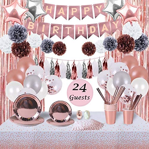 Rose Gold Birthday Party Decorations and Tableware Set Serves 24 Guests Party Supplies for Women product image