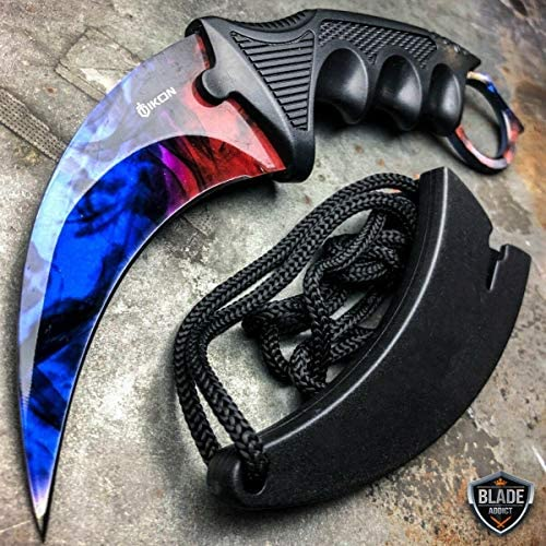 CSGO Marble Fade Doppler Karambit Hawkbill Full Tang Neck Knife w ABS Sheath Limited Edition product image