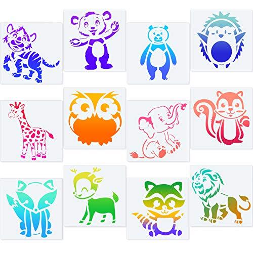 12 Stücke Tier Schablone Set Zeichnung Tier Schablone Vorlage Set Wiederverwendbar Kunststoff Kunst Zeichnen Malen Schablone zum Malen auf Holz Wand Zuhause Dekor DIY Projekt