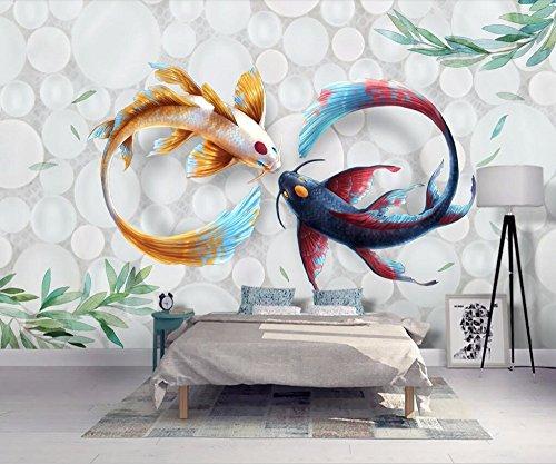 Benutzerdefinierte Größe Tapete handgemalt moderne stilvolle Aquarell Koi Fisch Fresco TV Couch Hintergrund Wandbilder 3D Tapete 450x310cm
