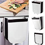 Yibaision Hanging Trash Can for Kitchen Cabinet Door, Kitchen Garbage Can White Collapsible Trash Can Small Compact Waste Bin for Apartment Drawer Bedroom Dorm Room - 9L/2.38 Gallon