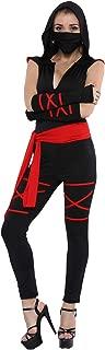 Women Ninja Costume, Black Deadly Assassin Costume 5 Pieces
