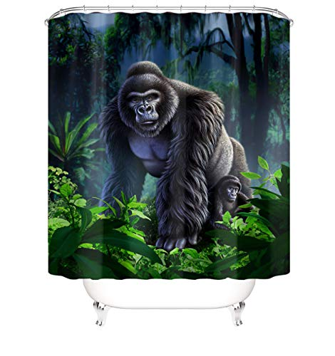 Cartoon Forest Gorilla Green Plant Protect Privacy Shower Curtain, Printed Shower Curtain Is Easy To Remove