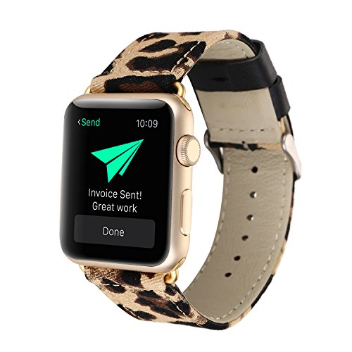 J&Z Correa de reloj Apple 42 mm/38 mm de cuero genuino leopardo impresión Apple Smart iwatch correa de pulsera, correa de repuesto Apple iWatch para series 3 2 1