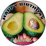 AK Giftshop Decoración para tarta de cumpleaños con aguacate personalizable, redonda, 20 cm, cualquier edad y nombre