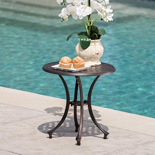 Christopher Knight Home 301752 Louis Outdoor 19' Bronze Finished Cast Aluminum Side Table