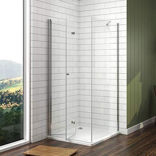 Meykoe Duschkabine 70x80cm Duschabtrennung Duschtür mit Seitenwand, Duschwand Glas Duschtrennwand Falttür 6mm ESG Sicherheitsglas ohne Duschtasse Höhe 185cm