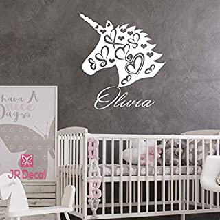 Unicorn name wall stickers, vinyl Wall decal for girls room, personalised baby girls nursery sticker, Unicorn Wall Sticker for girls, Nursery name stickers
