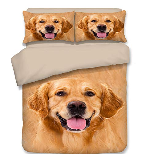 zpangg 3 Piece Bed Set Golden Retriever Duvet Cover Soft Microfiber Single Double King Size Bed 3 Piece Set 2 X Pillowcases 1 X Quilt Case 220×230Cm