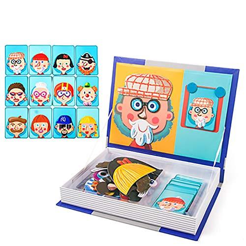 ZFF 3D-Puzzle Puzzle Puzzle - 3D Magnetic Buch for Kinder Puzzle Spielzeug-Gehirn-Trainings-Spiel Lernen Rechtschreibung Puzzle Kinder pädagogisches Spielzeug Pädagogisch und interessan