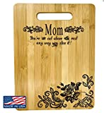 Mother's Gift – Bamboo Cutting Board Design Mom Gift Mother's Day Gift Birthday Christmas Gift Engraved Side For Décor Hanging Reverse Side For Usage (8.75x11.5 Rectangle)