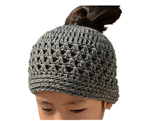 Tinacrochetstudio? Crochet Messy Bun Hats Ponytail Beanie ( Teen and Adult, Gray)