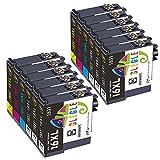 GLEGLE Ersatzpatronen für Epson 16-Patronen,die mit Epson Workforce WF-2630WF,WF-2510WF,WF-2750DWF,WF-2530WF,WF-2520NF und WF-2010 kompatibel sind 6 Schwarz,2 Cyan,Magenta 2,2 Gelb
