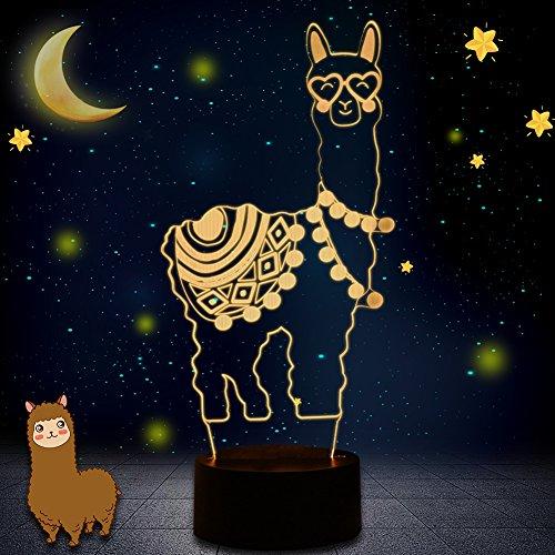 Novità 3D Illusion Lampade LED Alpaca Llama Night Lights USB 7 Colori Sensore Lampada Da Scrivania per Bambini Natale Regali di Compleanno Decorazione Casa (WHATOOK)