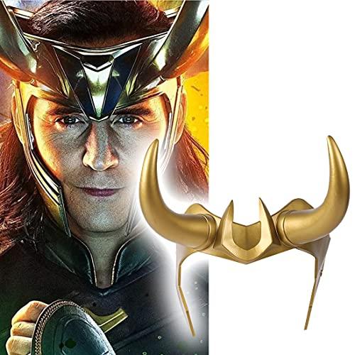 LIUQI Casque 3D Loki avec cornes du film Th-or Ragnarok Cosplay Masque en PVC pour Halloween fête pour adultes et enfants