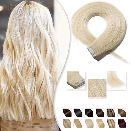 Extension Capelli Veri con Adesivo 50cm 20 pieces 50g/pack #60 Biondo Platino 100% Remy Human Hair Tape in Estensioni Invisibile Naturale
