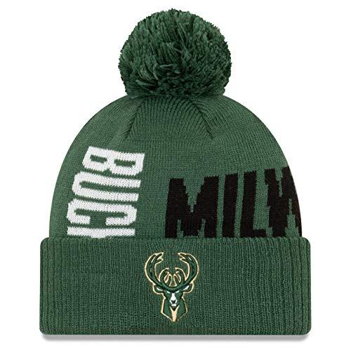 New Era - Gorro de Punto de Cruz, diseño de Milwaukee Bucks de la NBA, Color Verde