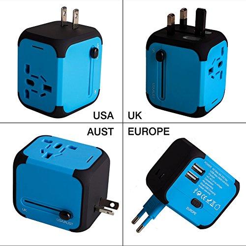 Adaptador Enchufe de Viaje Universal Dos Puertos USB para US EU AU de