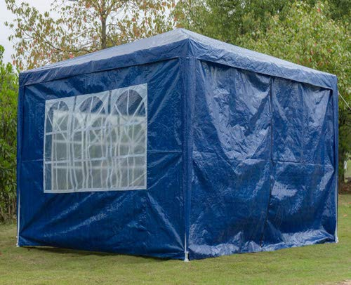 Outdoor Event Shelter Party Tent Commercial Gazebo, Heavy Duty, Fully Waterproof For Wedding Garden Party, With 4x Side Panels(Blue, 3m x 3m)