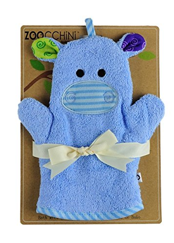 ZOOCCHINI Baby Bath Mitt - Henry The Hippo, Ultra-Soft Washcloth Glove, 100% Cotton Snow Terry, Designed in The USA 1 Mitt/Pack