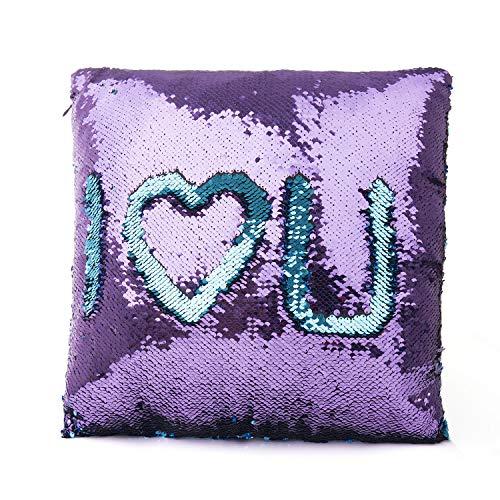 SenPuSi Funda de Cojín con Lentejuelas Sirena Dos Colores Mágica Magia Reversible Funda de Almohada Decorativo sofá, Coches y sillas 40x40cm/ 16x16 Pulgadas