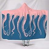 Xuanwuyi Pulpo pies rosa azul manta de felpa con capucha acogedor hogar - Talla...