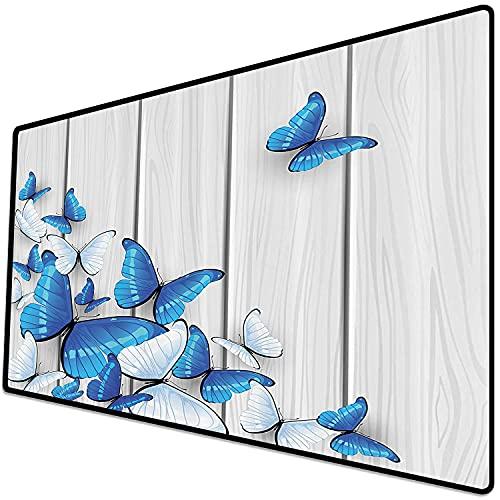 Alfombrilla de ratón (600x300x3 mm) Conjunto de ation de Mariposas, Mariposas sobre Fondo de Madera Tablero de Mesa de Pared de Mader Superficie Suave y cómoda de la Alfombrilla de ratón para Juegos