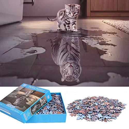 1000 Stück Jigsaw Puzzle für Erwachsene,hochwertige wiederverwertbare Materialien und hochauflösender Ausdruck,Familienspiele,Teambildung,Geschenke für Liebhaber oder Freunde(Kleine und Tiger)