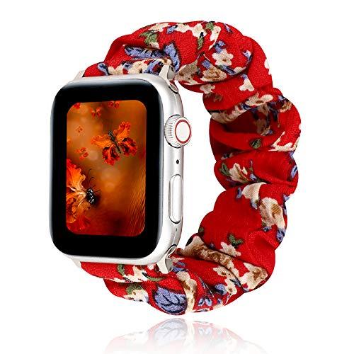 MZBZYU Elástico Correa Compatible con Apple Watch 38mm/42mm/40mm/44mm Patrón De Flores Pulseras De Repuesto Suave Elásticos con Capa Protectora Y Membrana para Iwatch Series 6 5 4 3 2 1(Rojo)