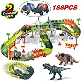 HOMOFY Dinasors Race Track Toys 188Pcs Flexible Trains Tracks Create A Dinosaur World Road Race Track Vehicle Playset 2 Dinosaurs 2 Cars Gift Toys for 3 4 5 6 7 Year Old Boys and Girls