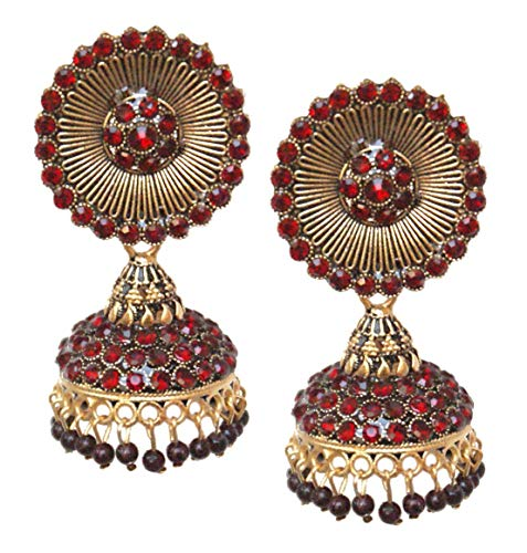 Pahal Traditional Jadau Red Pearl Round Long Gold Jhumka Earrings Indian Bollywood Bridal Jewelry for Women