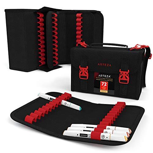 Arteza Layoutmarker Organisator, Taschenorganizer mit 72 Steckplätzen, abnehmbare Stiftetasche und Tragegurt, Reißverschlusstasche & Tragegriff, für Marker, Pinsel, Stifte