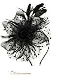 Fascinators Hat for Women Tea Party Headband Kentucky Derby Wedding Cocktail Flower Mesh Feathers Hair Clip (1-Black)
