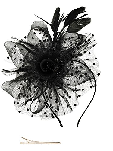 Black Fascinators Hat for Women Tea Party Headband Kentucky Derby Wedding Cocktail Flower Mesh Feathers Hair Clip