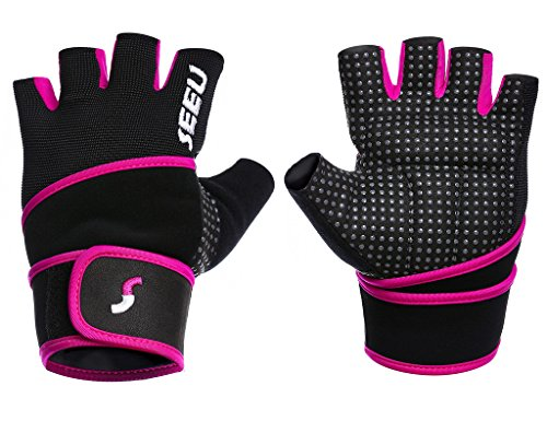 "SEEU Women's Workout Gloves with 17.5"" Wrist Wrap, Hot Pink S"