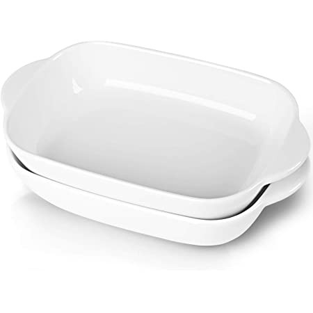 """LEETOYI Ceramic Small Baking Dish, Porcelain 2-Piece Rectangular Bakeware with Double Handle, Baking Pans for Cooking and Cake Dinner 7.5""""×5(Off White)"""