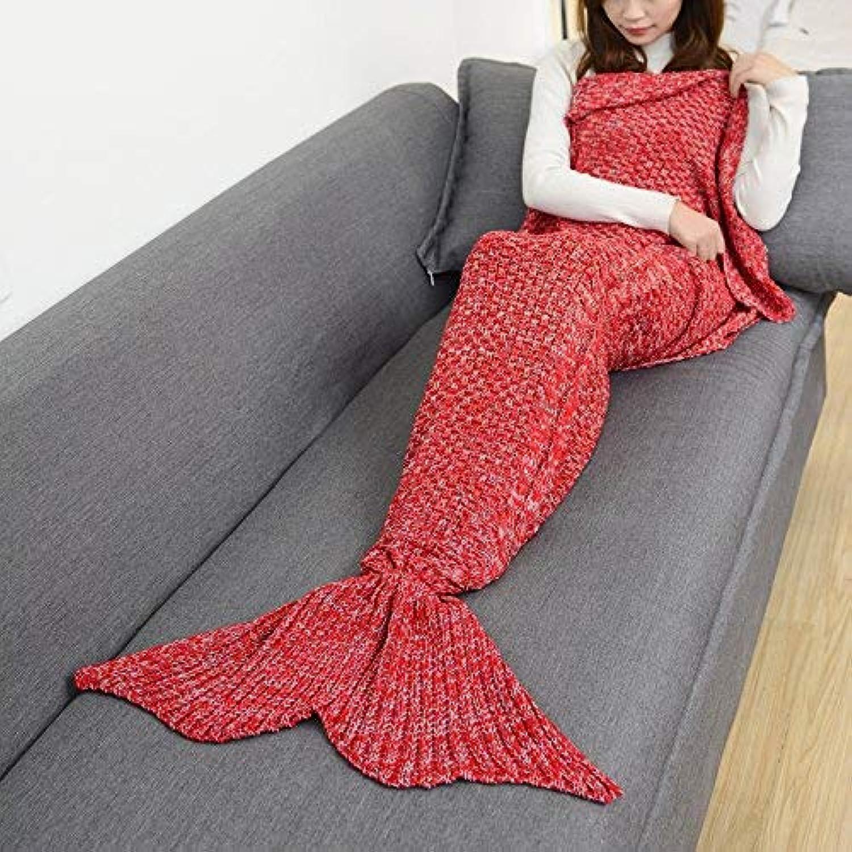 JINGB Home Warm Mermaid Tail Sofa Mermaid Wool Knit, red, 180  90CM (71  35.4 inch)