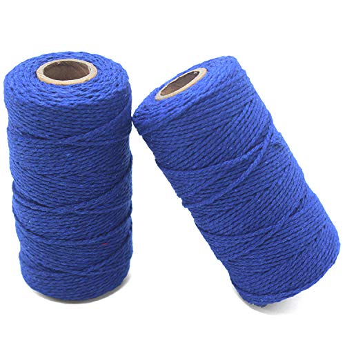 YZSFIRM 2mm Cotton Twine Rope,Dark Blue String Bakers Twine for DIY Crafts and Gift Wrapping(2 Roll 656 Feet)