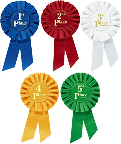 Award Ribbons Rosette Place 1st 2nd 3rd 4th 5th Premium Set Multipurpose for Ceremonies and Events 6 inch by Clinch Star