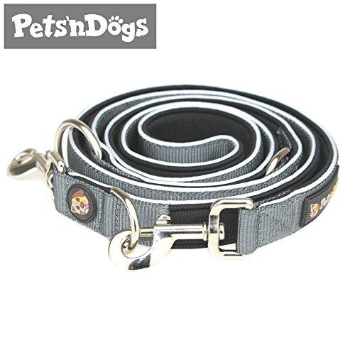 Pets'nDogs Starke Führ-Leine (2m) inkl. handschonendem Neopren-Innenfutter & sicheren 3M-Reflektoren | Perfekte Handhabung großer Hunde | Elegantes Design | 2 Gratis-Booklets zur Hundeleine