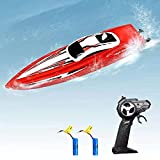RC Boat for Kids, LBKR Tech Remote Control Boat for Pool and Lake with 2.4GHz 10km/h Speedboat, Double Power, Speed Boat Remote Control Boats for Kids or Adults