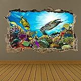 Pegatinas de pared, pegatinas de arte de pared subacuática, calcomanía mural, peces de mar, acuario, dormitorio para niños Bz46