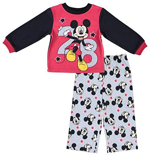 Disney Schlafanzug für Jungen, Micky-Maus-Design, langärmelig, zweiteilig, Rot / Grau, 3T